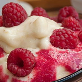 Banana Ice Cream with Raspberry Sauce